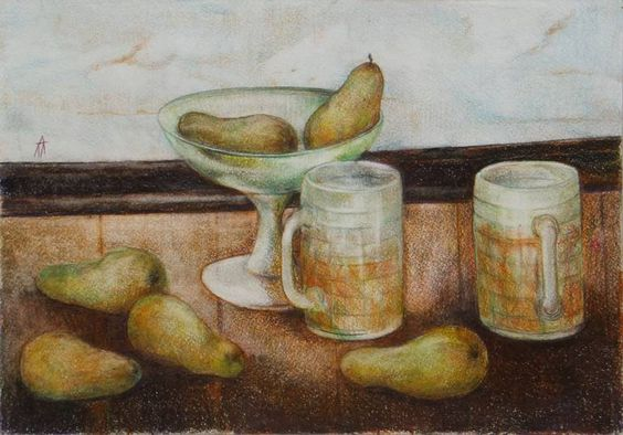 Nataliia Pogorelaia. Still life with a vase and pears