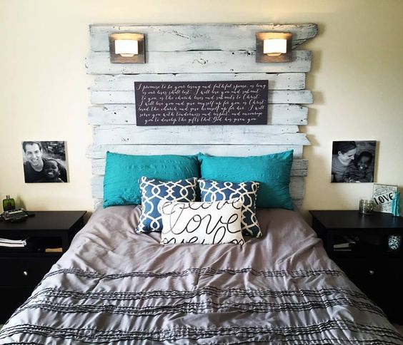 Rustic Headboard --  Turned out perfect! The wedding vows printed on canvas add the perfect personal touch to our homemade barn siding headboard.