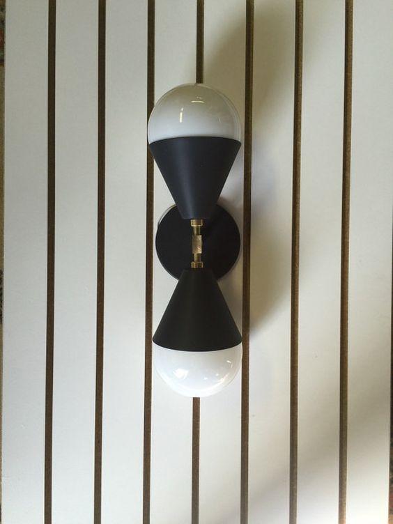 Noir mat & laiton lumineux  verre nuances par TripleSevenHome