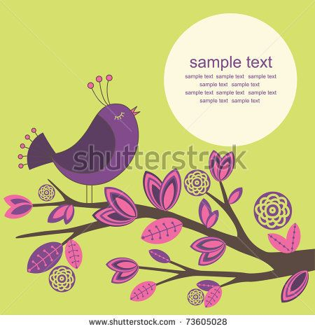 cute greeting card with bird. vector illustration - stock vector