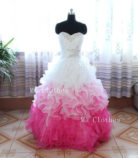 Custom Made Ball Gown Sweetheart Neckline White / Pink Prom ...