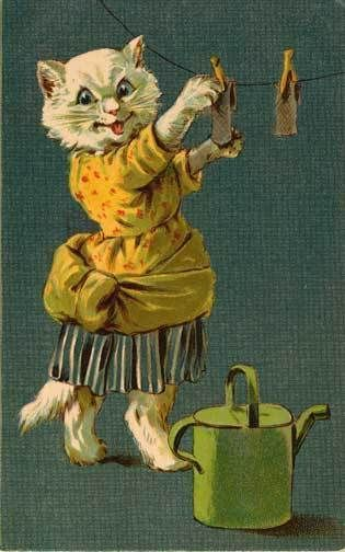 Vintage Nister Dressed Cat Hanging Laundry | eBay