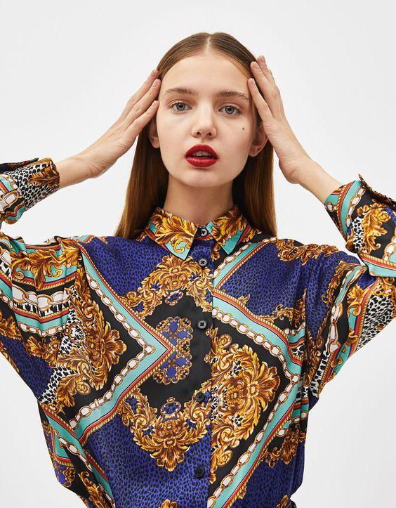 Estampado De Cadenas Scarf Print Otoño 2018 Camisas Versace Moda Blusa Con Estampados