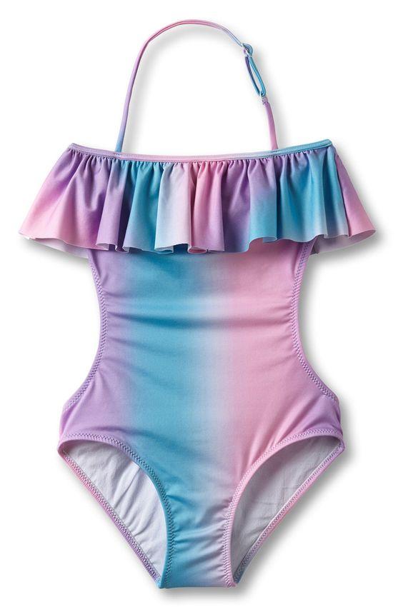 Ruffle Pastel Rainbow Swimsuit - The Girls @ Los Altos