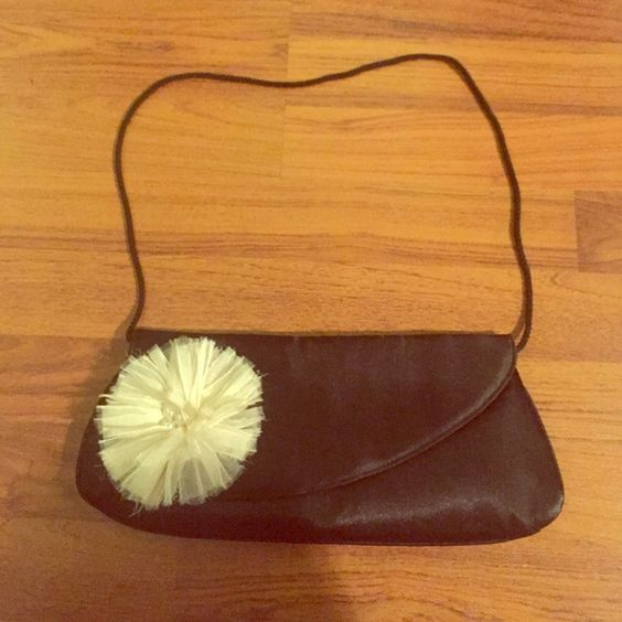 Small Handbag/Clutch! Black, silky material handbag/clutch. Flower detail with pearls. Never used! Icing  Bags Clutches & Wristlets