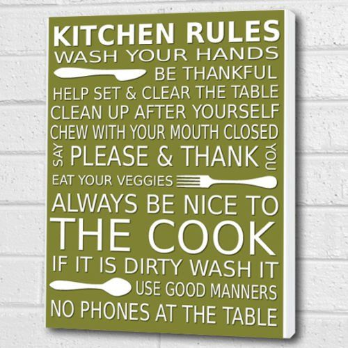 Kitchen Rules Wall Art Box Canvas   Olive Green   A3 12x16 Inch Cheryl  Monaghan Http