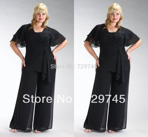 Cheap suit style, Buy Quality suit pant size directly from China pants with suspender buttons Suppliers: New Fashion Elegant Black Chiffon Sheath Half Sleeve Floor Length Plus Size Mother of the Bride Pant S