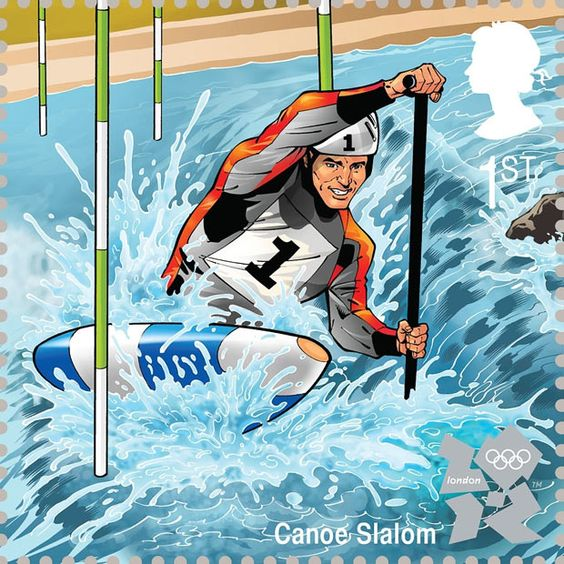 An action-packed illustration of canoe slalom by John Royle  Royal Mail first class postage stamps launched for London 2012 Olympic Games
