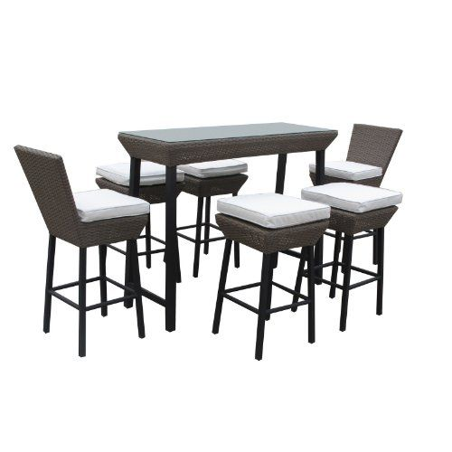 LexMod Napa Outdoor Wicker Patio Pub Table and Stools 7 Piece Set in Espresso with White Cushions « Outdoor Patio Furniture Sale Outdoor Pat...