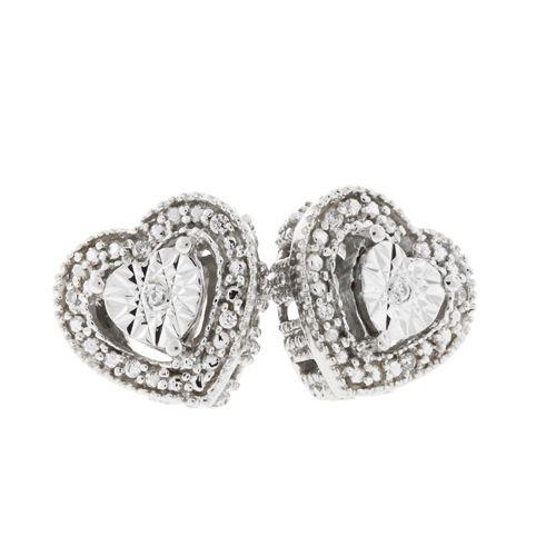 Diamond Heart Halo  0.09ctw. Earrings