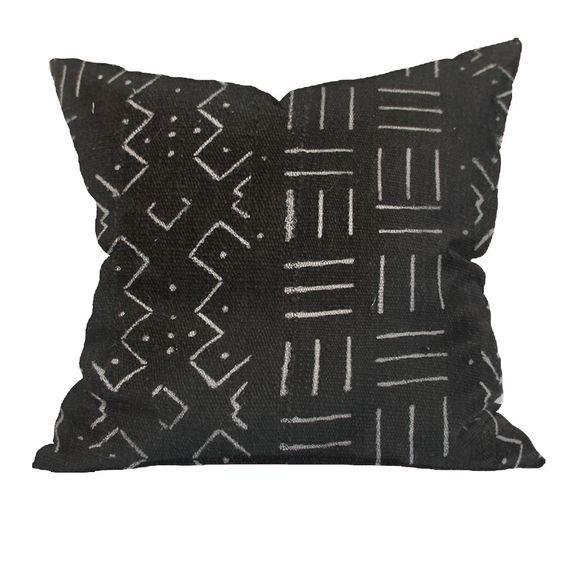 Vintage African Black Mudcloth Pillow | LARSON 18x18