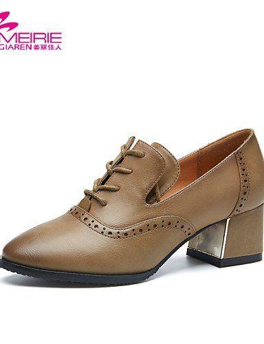 X&D Damenschuhe - High Heels - Lässig - Kunstleder - Blockabsatz - Spitzschuh / Geschlossene Zehe - Schwarz / Khaki - http://on-line-kaufen.de/tba/x-d-damenschuhe-high-heels-laessig-kunstleder-4