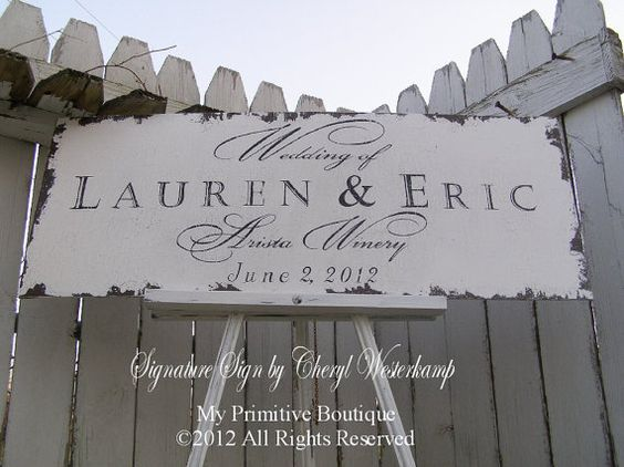 Custom VINTAGE WEDDING SIGN Shabby Chic by MyPrimitiveBoutique, $65.00