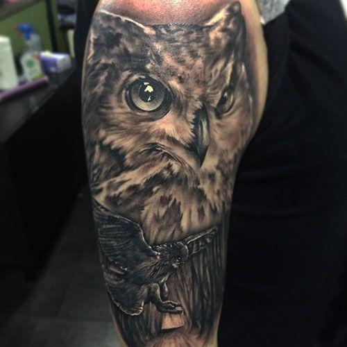 125 Best Owl Tattoos For Men Cool Designs Ideas 2020 Guide Mens Owl Tattoo Owl Tattoo Owl Tattoo Design