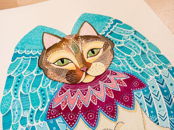 Cat Angel by Eve Devore, watercolors and ink