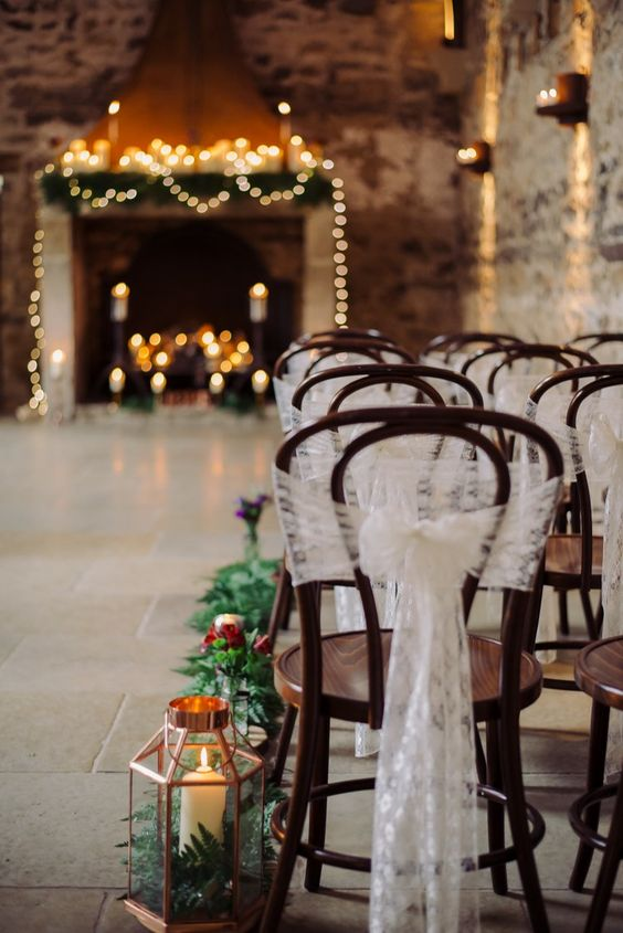 Healey Barn Lace Chair Covers Cosy Candlelit Woodland Barn Wedding Ideas http://www.chrisrandlephotography.co.uk/: