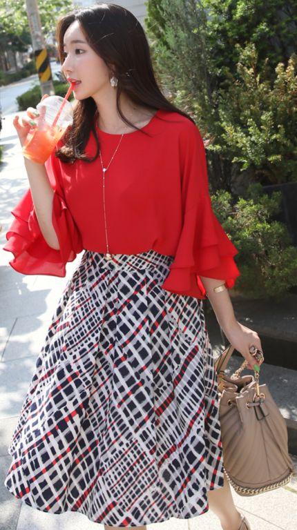 StyleOnme_Unique Patterned Linen Flared Skirt #check #patterned #flared #skirt #elegant #feminine #koreanfashion #kstyle #kfashion #summertrend #dailylook