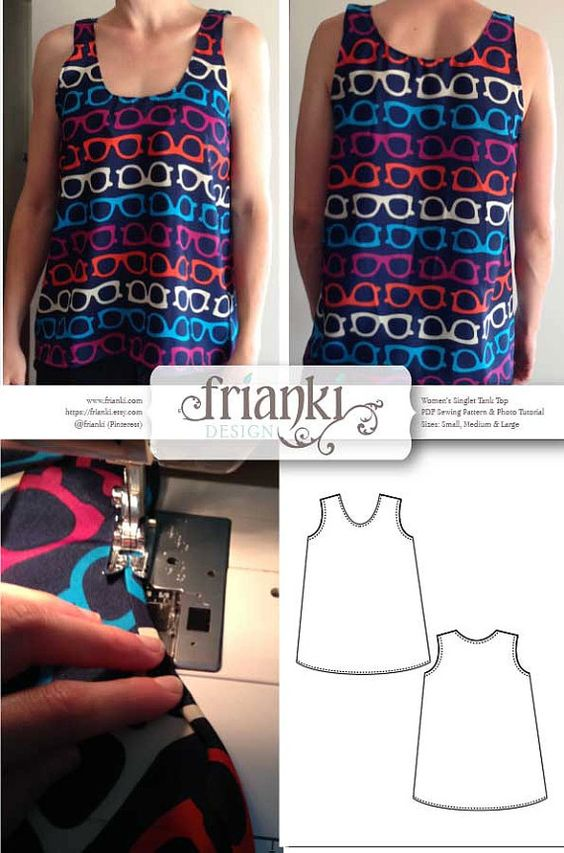 Women's Easy Singlet Tank Top PDF Sewing Pattern and by Frianki