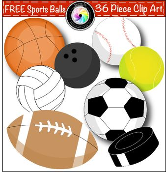 This Free Sports Balls Clip Art Bundle Contains 36 Free Images Including A Baseball Basketball Bowling Ball Footbal Clip Art Freebies Clip Art Sports Balls