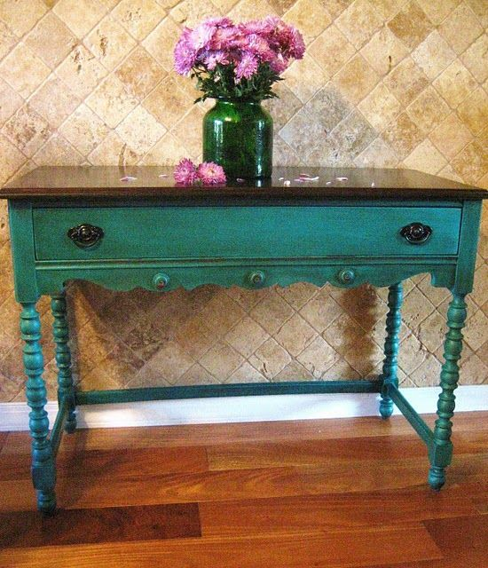 Dark Turquoise and dark wood top plus a great blog for inspiration.