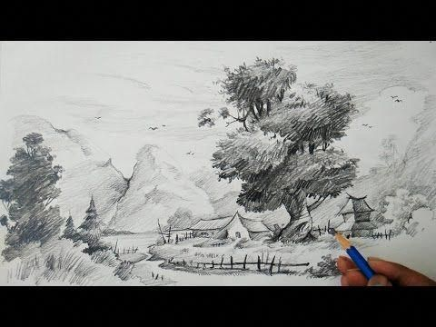 Simple Landscape Sketching And Shading With Pencil Pencil Drawing Pencil Art Youtube Landscape Sketch Drawings Cool Landscapes