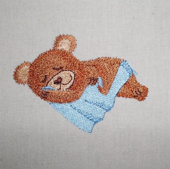 sleeping Teddy machine embroidery   www.cyncopia.com