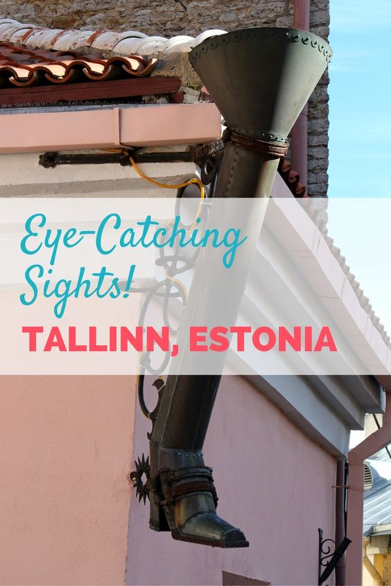 Don't forget to look up when wandering the UNESCO city of Tallinn, Estonia! You don't want to miss this boot-shaped drainpipe :-). Just one of the many eye-catching sights in Tallinn Old Town...