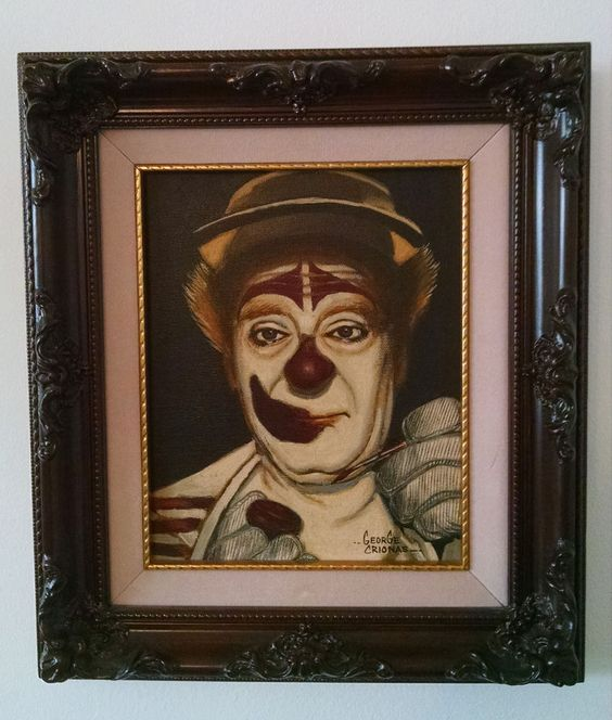 Original Vintage Signed George Crionas Oil on Canvas Clown Painting