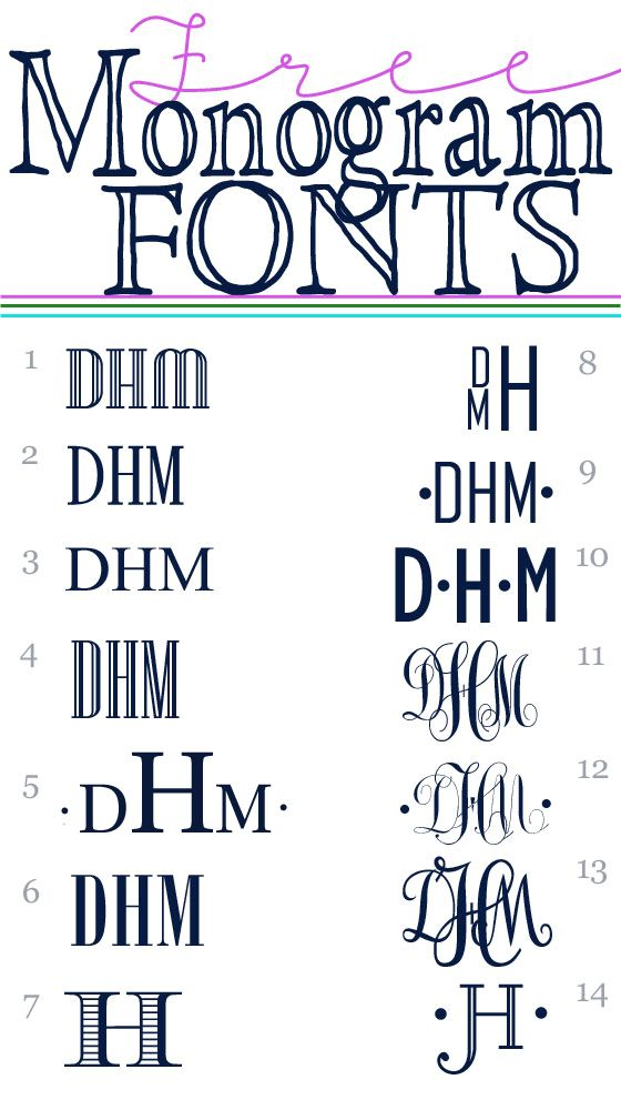 Free Monogram Fonts  *** Don't miss this one!! *** Easy Links to 14 free fonts that are great for monograming!!