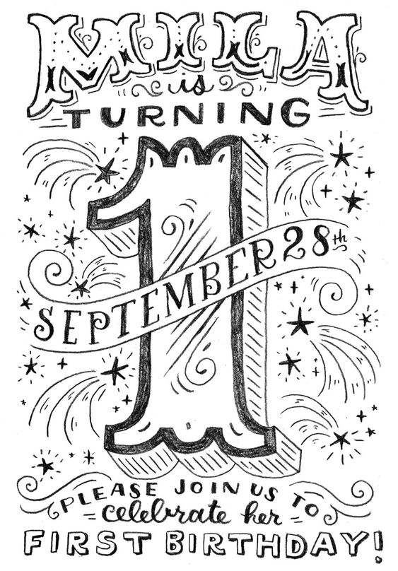 A sketch for a birthday invitation for a person turning one.