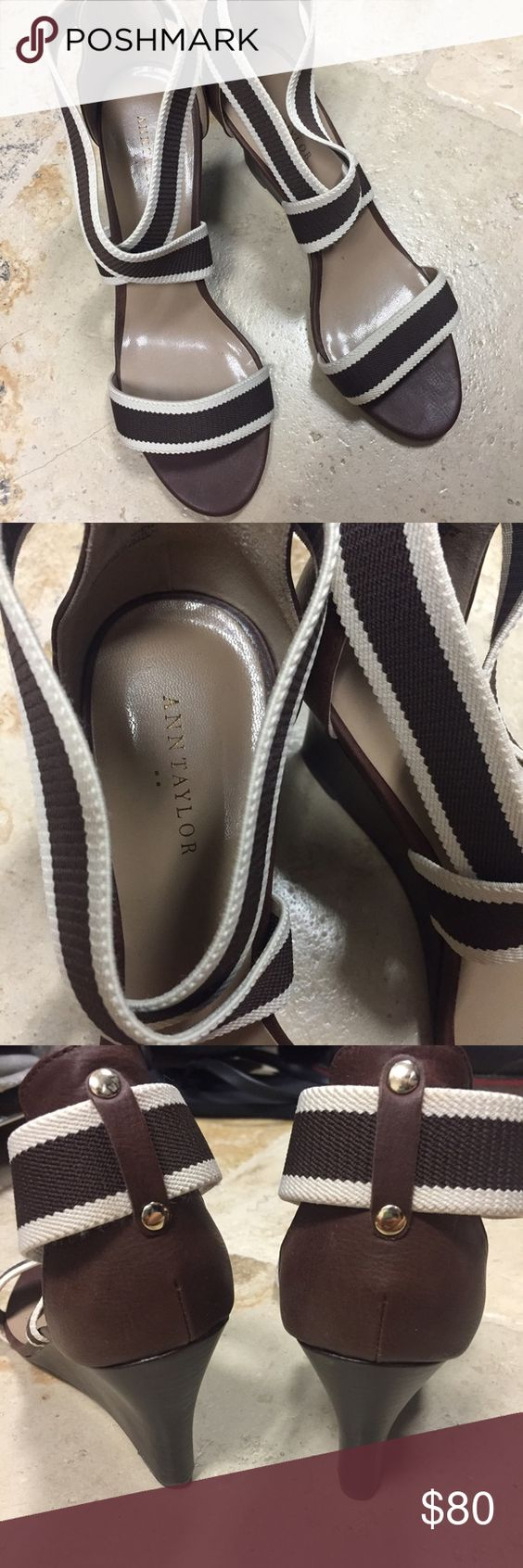 Cream and Brown Strap wedge Ann Taylor gorgeous brown wedges. Perfect for summer! Ann Taylor Shoes Wedges