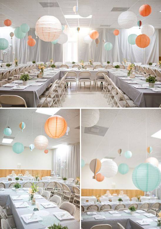 Boy Nursery Colors Mint Grey And Touches Of Orange Sherbert Baby Shower Table Set Up Orange Baby Shower Baby Shower Table