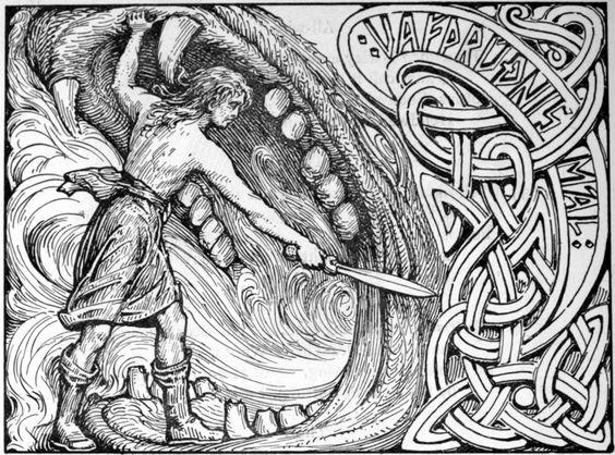 "W.G. Collingwood ""Víðarr VS Fenrir"" 1908:"