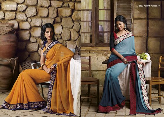 Awesome combination of yellow color saree with dark blue embroidered  border patta  is used chiffon & alfaino patti material AND Dark turquoise color georgette saree with outstanding border on both side look pretty with elegant blouse piece