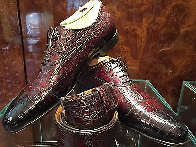 Santoni's %100 crocodile plain toe laceup shoe's