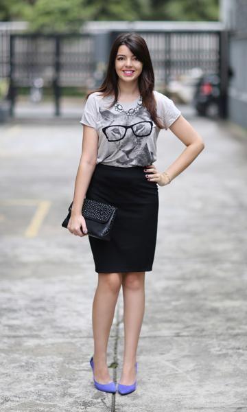 Look Quarta-Feira: T-Shirt + Saia: