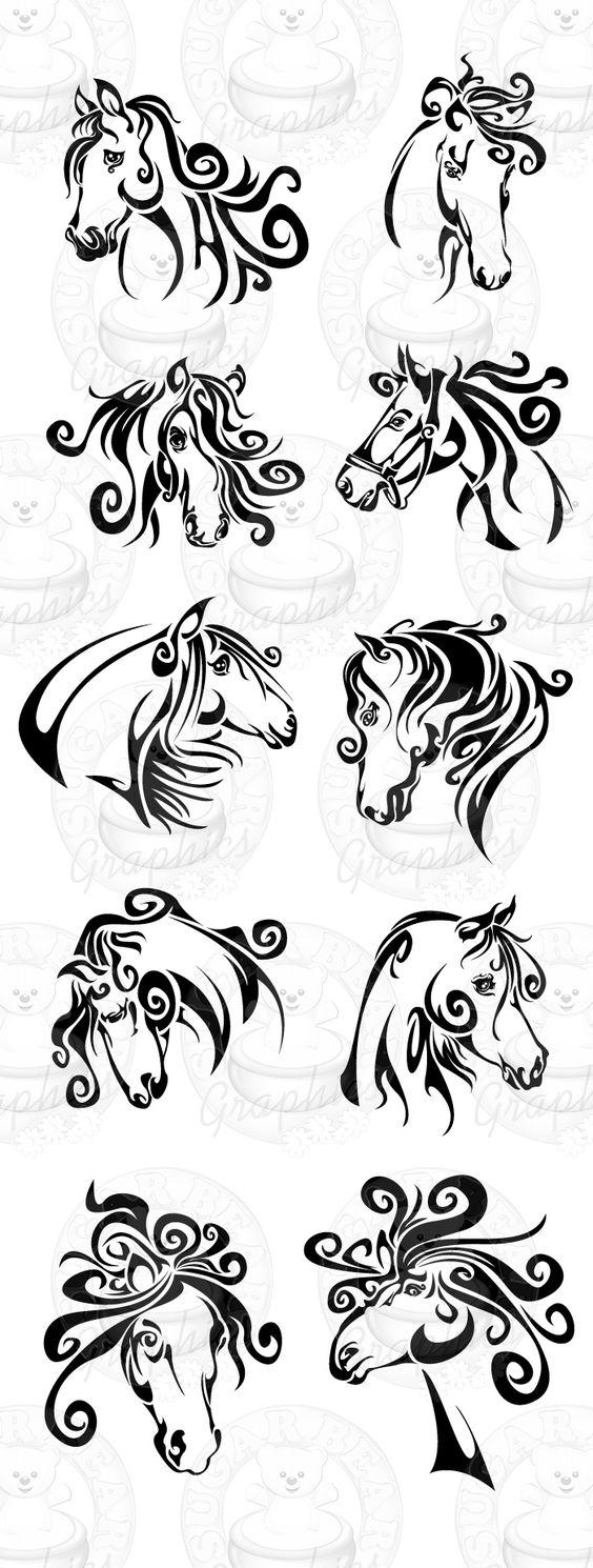 tribal horse heads tattoo pack