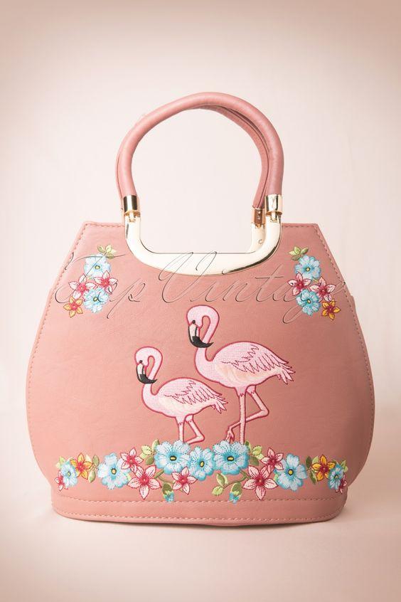 Banned - 50s Pink Flamingo Handbag in Pink
