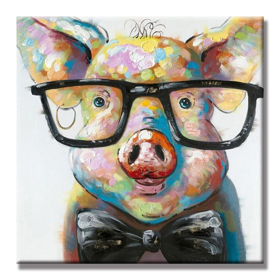 Amazon.com: SEVEN WALL ARTS -100% Hand Painted Oil Painting Cute Colorful Animal Painting Smart Potter Pig Decorative Artwork for Home Decor Ready to Hang 32 x 32 Inch: Paintings