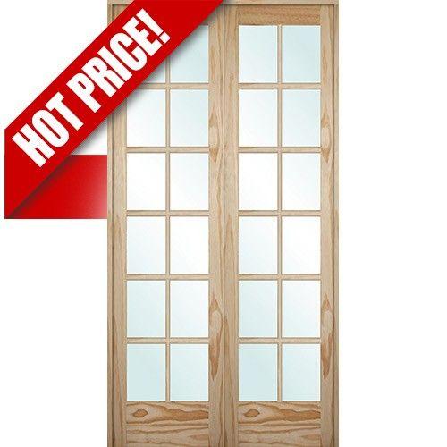 9301 8 0 Tall 12 Lite Pine Interior Prehung Double Wood Door Unit Discount Interior Doors Interior Window Sill Cheap Interior Design