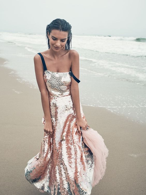 Emily Ratajkowski poses in Valentino gown with sequins: