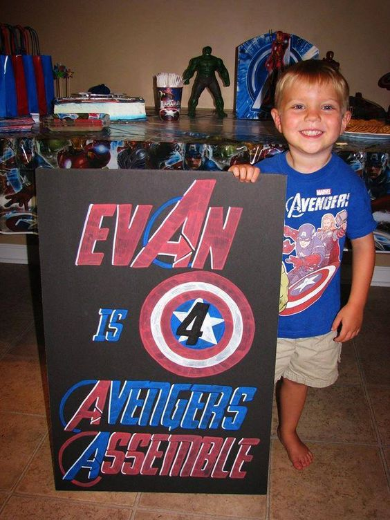 Evan is 4! Avengers Assemble!  Avengers Birthday Chalkboard.  Superhero.  Don't forget to LIKE/FOLLOW on Facebook and Instagram.