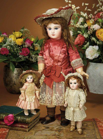 "9 1/2""- All-Original French Bisque Bebe E.J. by Jumeau, Size 1, Gold-Lettered Signed Jumeau Shoes, original costume.  Emile Jumeau, circa 1895.~~~12""- Petite French Bisque Bebe Jumeau with Rare Incised Depose Mark and Original Dress, Emile Jumeau, circa 1884."