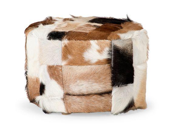Grand pouf SIBERIAN en peau de chèvre multicolore