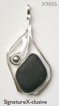 Black Sea glass pendant #sea glass beads & #sea charms: http://www.ecrafty.com/c-780-sea-glass-beads.aspx?pagenum=1===newarrivals=60