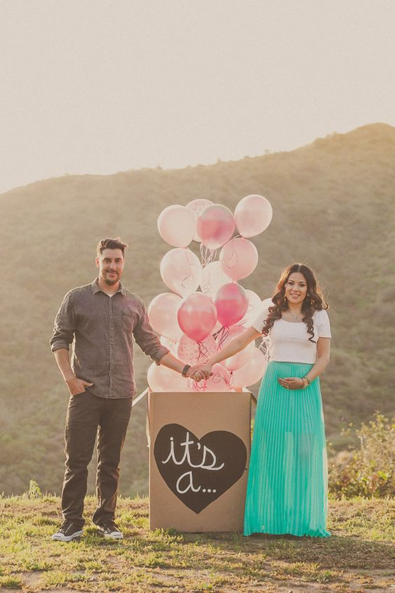 Baby girl gender reveal announcement Yuna Leonard – Pinterest Baby Announcement Ideas