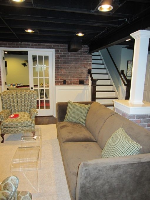 Inredning källare basement : Finished basement with sprayed ceiling. | Basement ideas ...