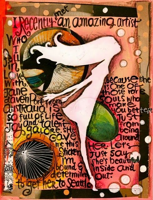 Different way to journal--words, painting, layering=COOL ART!