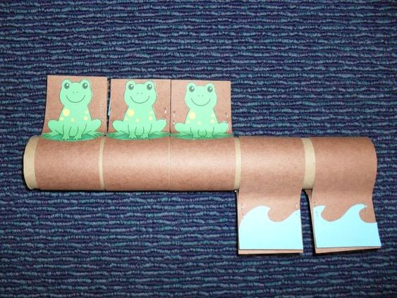 Tube Story: Five Green and Speckled Frogs-what a cute craft idea to go with the song and visually helps kids count