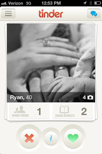 All for one, one for all. For the record, newborn photos make great Tinder pics.